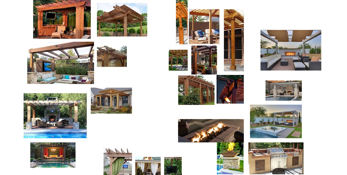 site plan, backyard, pool, hot tub, pergola