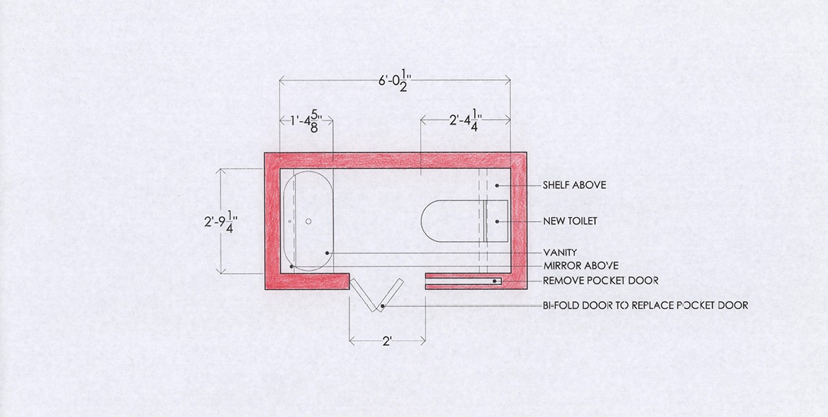 redesign, powder room, steps