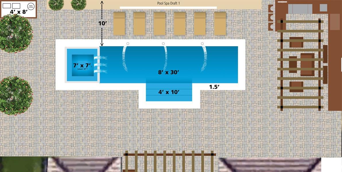 site plan, backyard, pool, hot tub, pergola