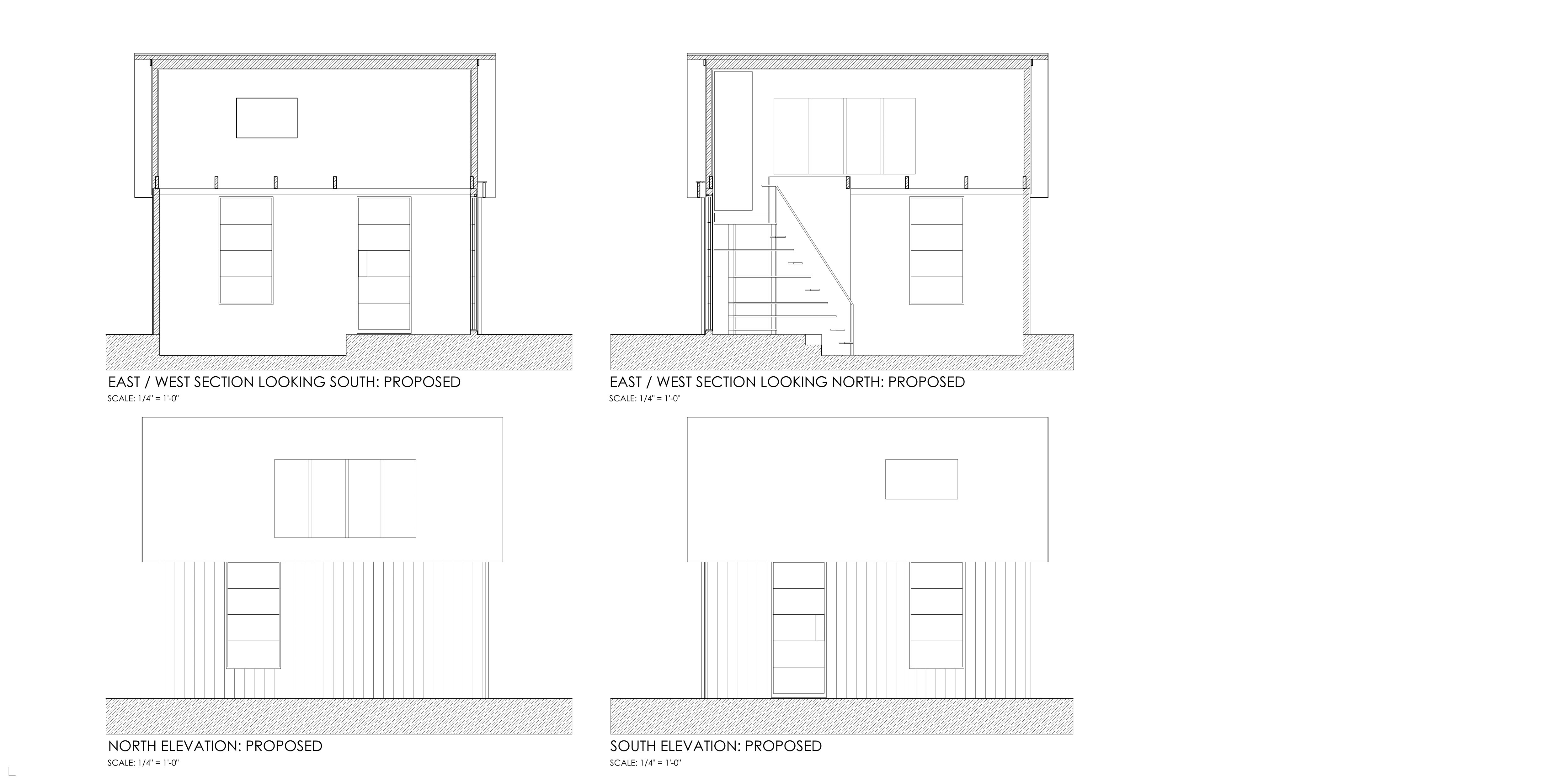 plan, sections, elevations