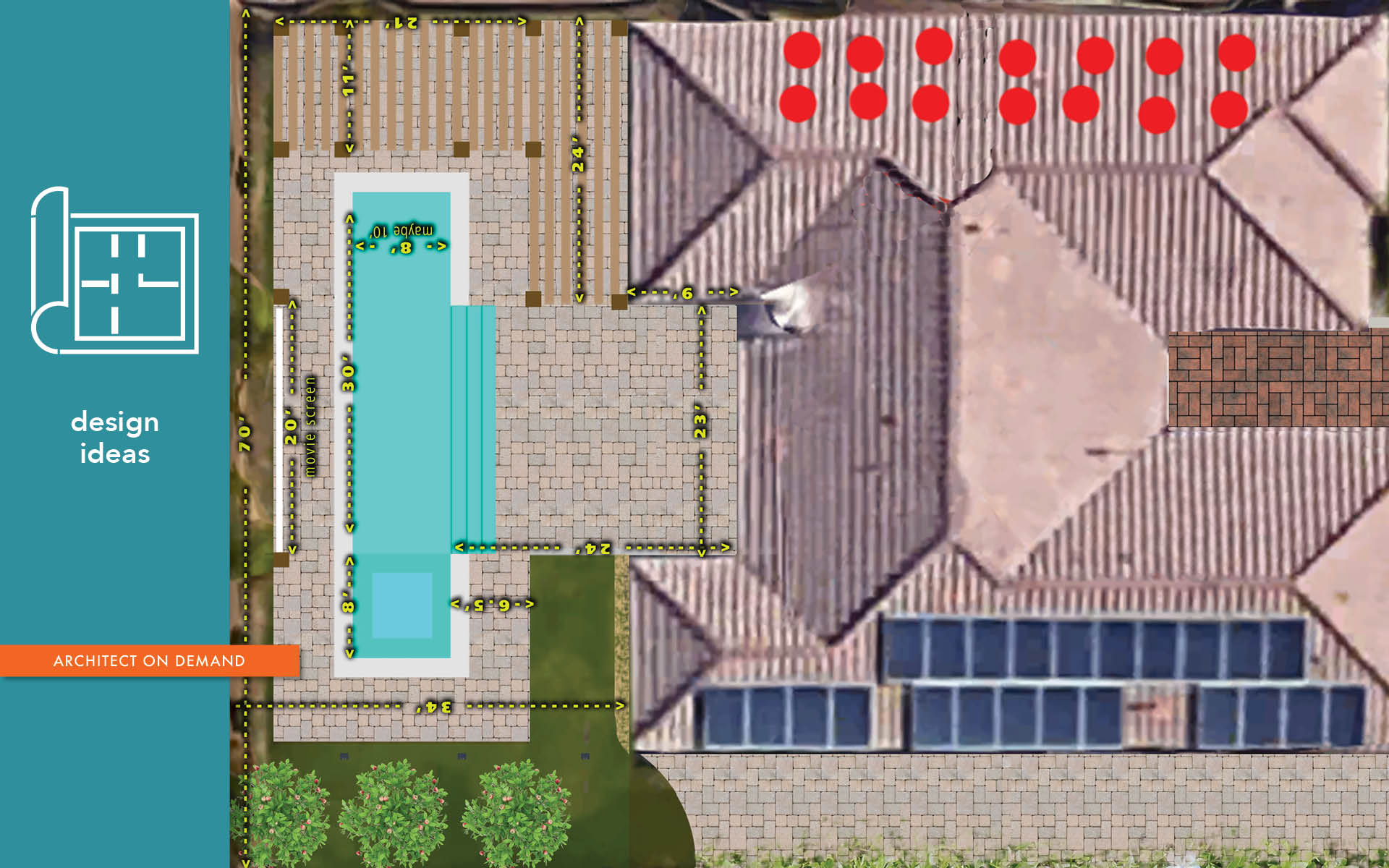 site plan, backyard, pool, hot tup, pergola, architect on demand, advice without strings